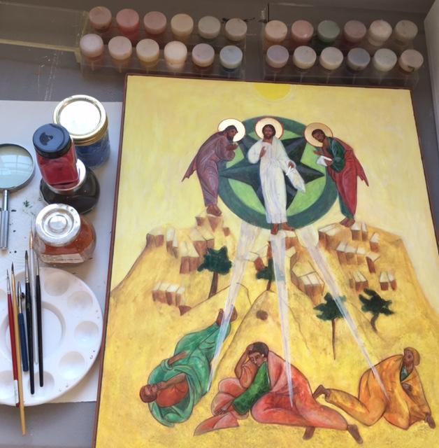 Transfiguration Icon by Christine Hales in Progress