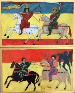 This is a diptych Icon of the Four Horsemen of the Apocalypse by Christine Hales