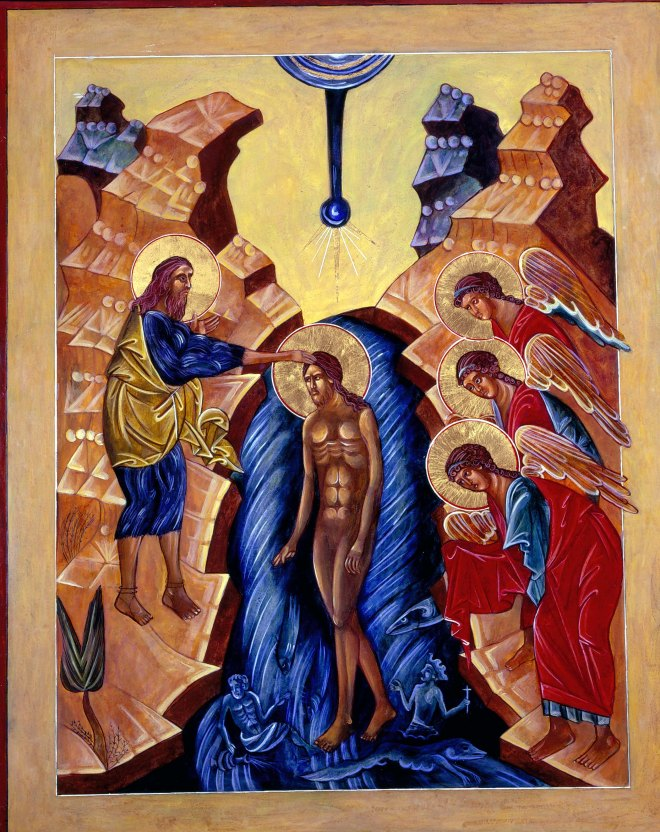 Baptism of Jesus Icon by Christine Simoneau Hales