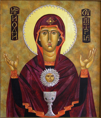 Mary, Eucharist Icon by Mary Jane Miller