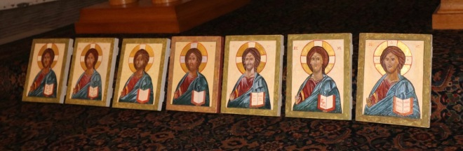 Christ Icons at Holy Cross Icon Class taught by Christine Hales