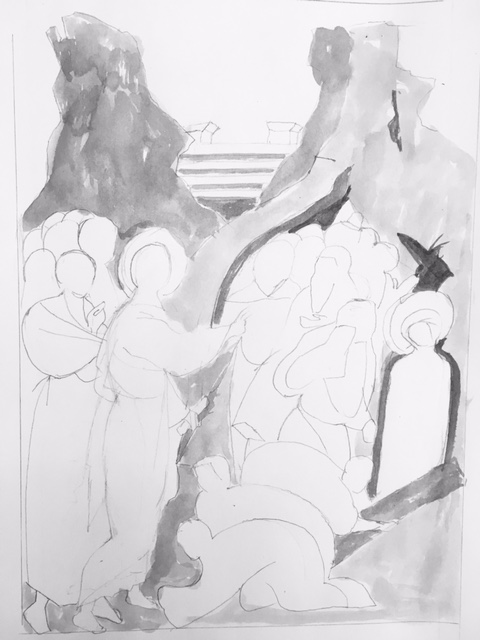 Raising of Lazarus Icon Sketch in Black and White Christine Hales
