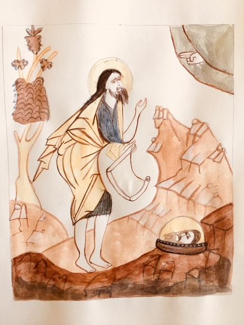 John the Baptist watercolor sketch Christine Hales