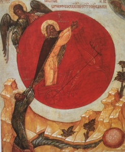 ELijah and the Chariot of Fire Icon 14th Cent.