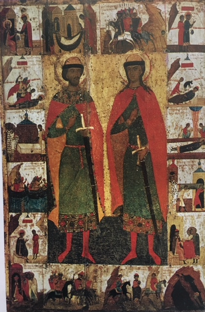St. Boris & St. Gleb with scenes from their life, late 14th century