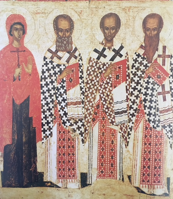 Saints Paraskeva Pyatnitsa, Gregory the Theologian, John Chrystostom, and Basil the Great, Icon