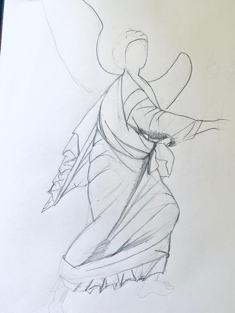 Archangel Gabriel drawing, Christine Hales