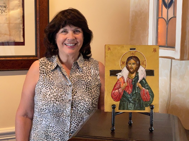 Kristine and Good Shepherd Icon