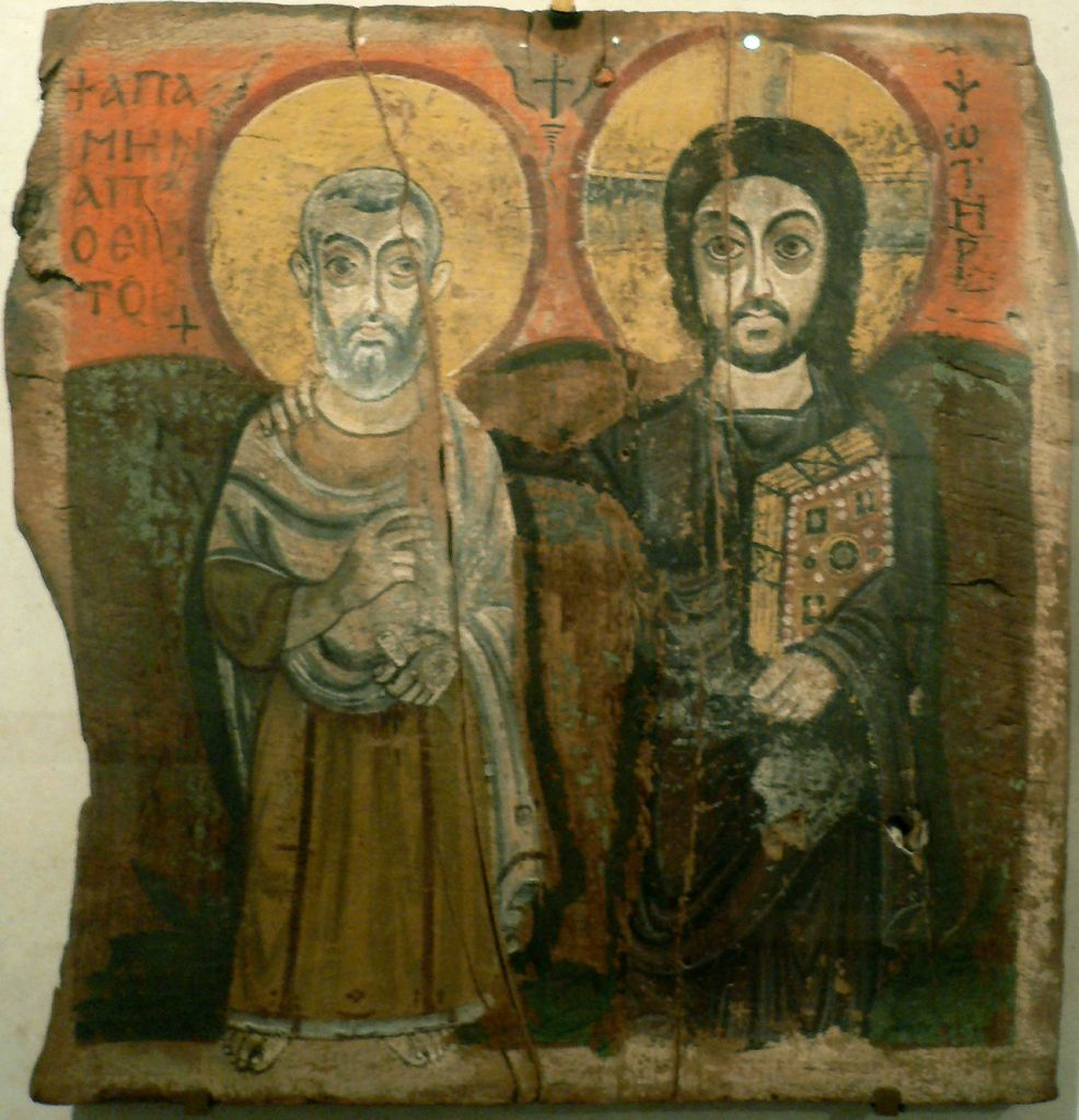 Coptic Icon of Christ and Saint Means, Sixth Century